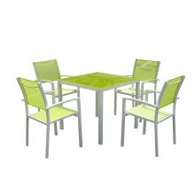 Ensemble de table à manger en textilène 5PC aluminium