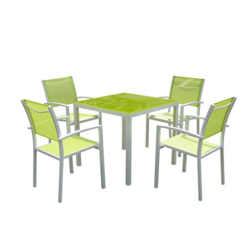 Professional China for Outdoor Patio Furniture 5PC aluminum textilene dining table set supply to Belize Wholesale