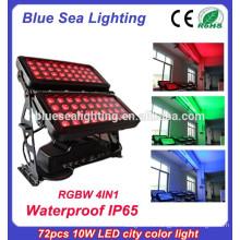 Профессиональный IP65 72pcs 10w rgbw 4 в 1 наружных светодиодных огней стены стиральная машина