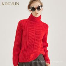 Heavy Gauge Pullover für Frauen, 100% Merinowolle Stoff, schweren Rollkragen und weicher Pullover