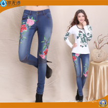 2017 Fashion Women Embroidery Pants Factory OEM Cotton Denim Jeans