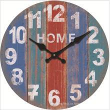 Relógio de parede de praia rústica Relógio silencioso de 12 polegadas redondo silencioso sem tique-taque