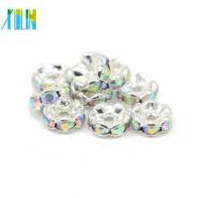 Best Selling IA0205 Nickel Black Plating Metal Crystal AB Rhinestone Rondelle Spacer Beads