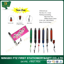 Mini Plastic Touch Banner Pen With Phone Chain