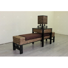 Classic Water Hyacinth Bench, Table Stool, Lamp for Bedroom Set