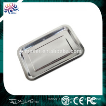 Polished finish 2cm height stainless steel plate, rustless tattoo ink stainless steel tray, medical grade tattoo mayo tray
