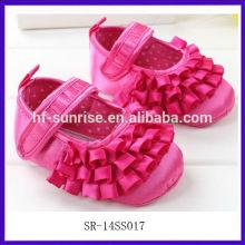 SR-14SS017 2014 rosafarbene rote Babyschuhe 0 3 Monate Art und Weise flache nette verzierende Babyschuhe neue Mädchenbabyschuhe 2014