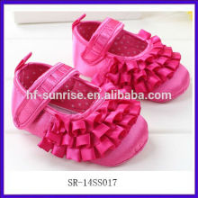 SR-14SS017 2014 rose red baby shoes 0 3 months fashion flat cute decorating baby shoes new girls baby shoes 2014