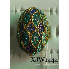Acier avec anneau de bijoux en diamant (XJW1444)