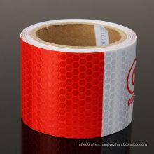 Cinta de 3 m blanco/rojo reflectante seguridad ADVERTENCIA de la evidencia en adhesivo