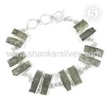 Bracelete de pedras preciosas de Kyanite deslumbrante Jóias de prata esterlina 925 feitas à mão Jóias em linha indianas