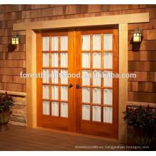 Doble puerta Exterior francés y roble vidrio madera Patio puerta S17-01