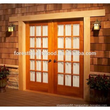 Double Exterior French Door and Oak Wood Glass Patio Door S17-01
