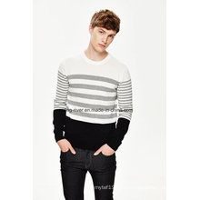 Оптовые круглые шеи полосатый свитер мужчин вязать