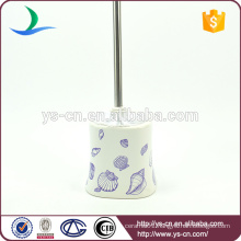YSb50131-th Square blue sea shell ceramic toilet brush holder for hotel