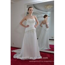 EN STOCK Vestido de novia sin mangas de la Piso-longitud del vestido de boda del hombro SW82
