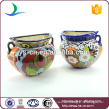 YSfp0010 Handprint antique flower pot with colorful designs