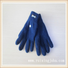 Plain wool knitted men stylish winter gloves