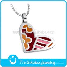 TKB-JP0167 2015 pendentif en acier inoxydable de bijoux en forme de coeur en émail de la mode pour femmes