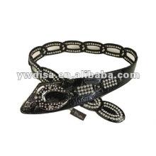 Ceinture PU pour femme avec PU noir, strass en cristal, accessoires en alliage, plaqué métal