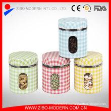 Venta caliente Set 4 de acero inoxidable recubrimiento de sellos de aire de vidrio de vidrio de almacenamiento de grandes frascos