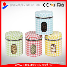 Hot Sale Set 4 en acier inoxydable Coating Air Seal Decorative Large Glass Storage Jars