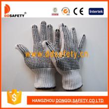 PVC noir points les deux côtés gants de coton de blanchiment (DKP228)