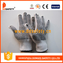 Black PVC Dots Both Sides Bleach Cotton Gloves (DKP228)