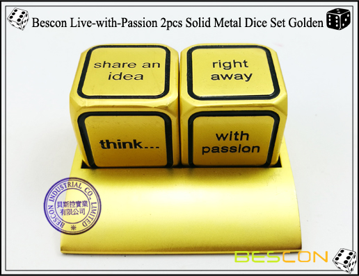 Bescon Live-with-Passion 2pcs Solid Metal Dice Set Golden-3