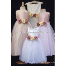 Las correas de hombro verdaderas del satén del organza applqued el vestido de las muchachas de flor CWFaf4228