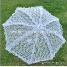 Hecho en China boda de encaje blanco personalizado paraguas Blanco nupcial paraguas