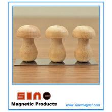 Forma de madeira nova do cogumelo ima de geladeira