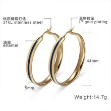 18K oro aro pendientes mujeres joyas grandes del acero inoxidable elegante oído regalos de Navidad