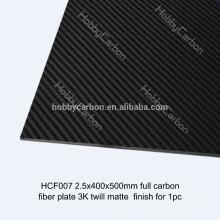 Feuille de fibre de carbone pleine / vraie de la résine époxyde 3K / plaque, pièces de coupe de commande numérique par ordinateur pour FPV