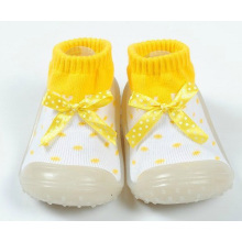 toddler baby girl bowknot anti-slip rubber sole sock shoes slipper boots