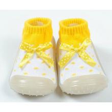 Toddler девочка девочка bowknot противоскользящие резиновые подошвы носки обувь туфли сапоги