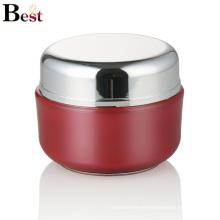 alibaba самых лучших продавцов красный круглый акриловые крем jar пластиковые косметические контейнер с серебряной крышкой Китая
