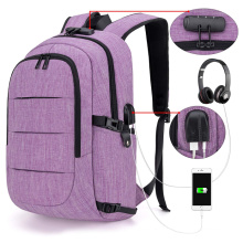 New Purple Anti-theft USB Port Briefcase Notebook Bags Business Laptop Backpack