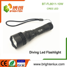 Factory Wholesale Power Bright High Aluminium Waterproof XML T6 1 * 18650 La meilleure torche à faisceau long de plongée bon marché
