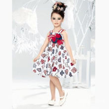 Girl's Party Dress with Lace Flower High Quality and Soft Texture, Fashionable/Fancy