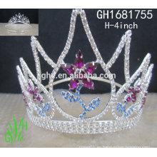 Corona de encargo cristalina del desfile de los rhinestone de los nuevos diseños rhinestone de los accesorios