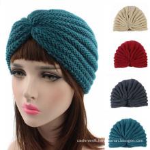 Women Knitted Hat Cross Crochet Turban Bonnet Dome Winter India Cap Warm Hat (HW129)