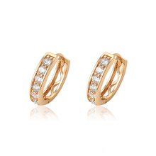 95930 Fashion lady simple designs jewelry 18k gold zircon style hoop earrings