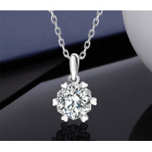 Six-Prong Moissanite 1 Carat Diamond S925 Sterling Silver Fashion Jewellery Jewelry Women′ S Sparkling Chain Bling Bling Necklace