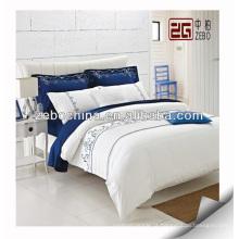 Hot Sale 100% Algodão Bordado Logo White Hotel Bedding Sets