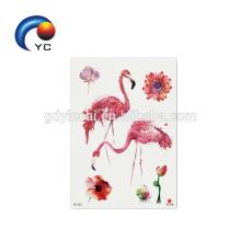 Fábrica Atacado Animais Tatuagem flamingos Coloridos Tatuagem Temporária Etiqueta Do Partido Fornecimento