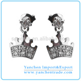Crown Shaped Drop Earrings for Girls with Rhodium Plated Clear CZ Diamond