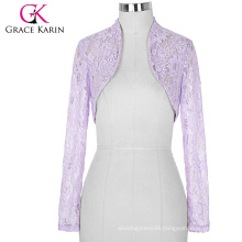 Stock Womens Ladies Long Sleeve Cropped Lilac Lace Shrug Bolero BP000049-4