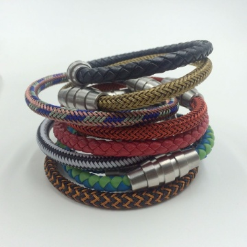 New Fashion Design for Braided Steel Rope Bracelet Mens Custom Made Braided Steel Wrapped Rope Bracelets supply to Japan Factories