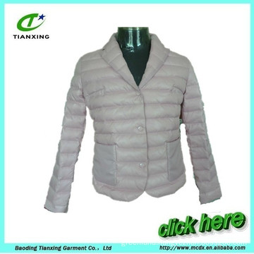 light grey turn- down collar women down jacket coat